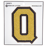 Gold Sequin Iron-On Letter Q - 4 3/4""